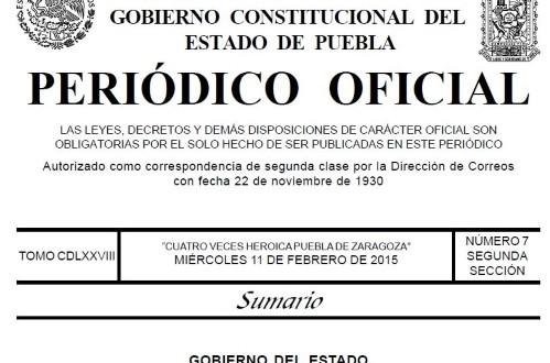 PERIODICO OFICIAL PUEBLA DIVORCIO INCAUSADO